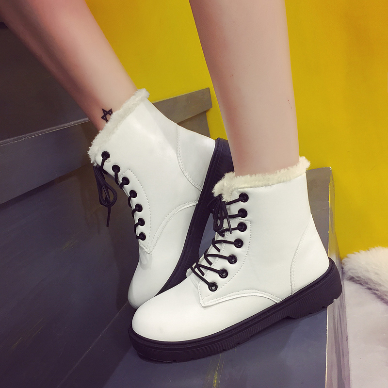 Fashion waterproof women snow boots woman winter dr martin boots pu leather ankle boots women shoes warm fur plush Insole shoes 2018 women snow white boots woman winter boots women fashion ankle boots warm fur women s shoes brand shoes zyw 996 2