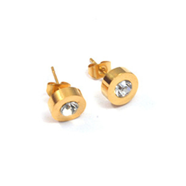 Fashion Classic Men Womens Austrian Crystal Earrings Stainless Steel Yellow Gold Round Cubic Zirconia Stone Stud Earrings