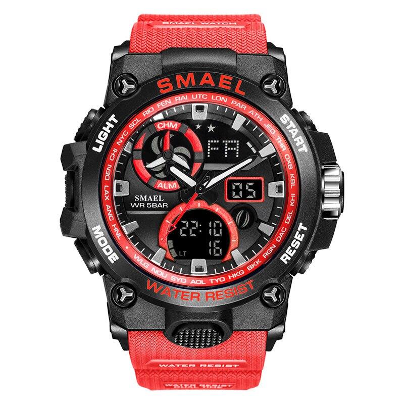 SMAEL 2020 Sport Watch Men Dual Time Waterproof 50M Miliatry Watches Chrono Alarm Wristwatch Vintage Classic Digital Watch 8011