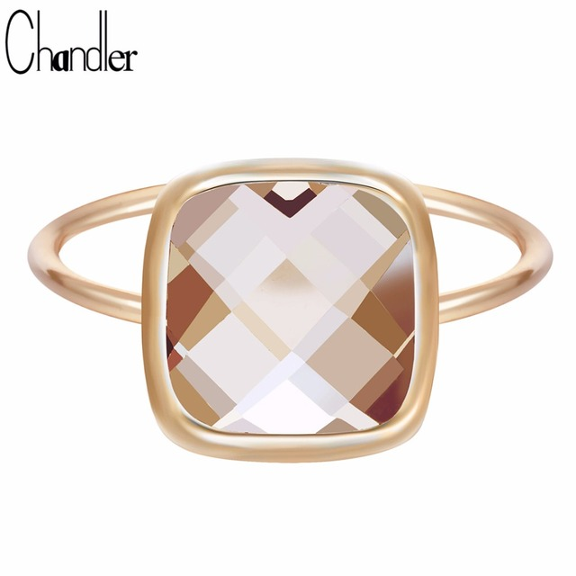 Chandler 2017 Antique Orange Big Austrian Crystal Rings For Women Wedding Band Sliming Finger Turkish Engagement Accessaries