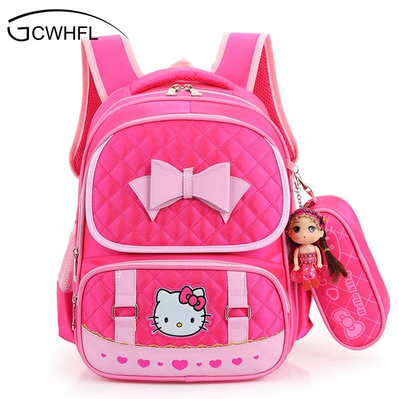 Hello Kitty School font b Backpacks b font For Children Nylon Girls Princess School Bag Waterproof