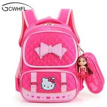 Hello Kitty Mochilas Escolares Para Los Niños Muchachas de la Princesa Del Bolso de Escuela de Nylon Impermeable Kids Satchel Chica Mochila mochila escolar