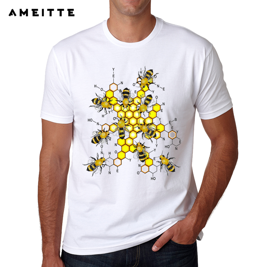 e4c930e9e 2018 Funny Science Bees Design T-Shirt Summer Men's Personality Customied  Printed T Shirt Fashion