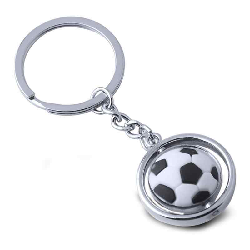 LLavero de Metal de bola de fútbol llavero de deportes 3D giratorio bola llavero regalo de cumpleaños