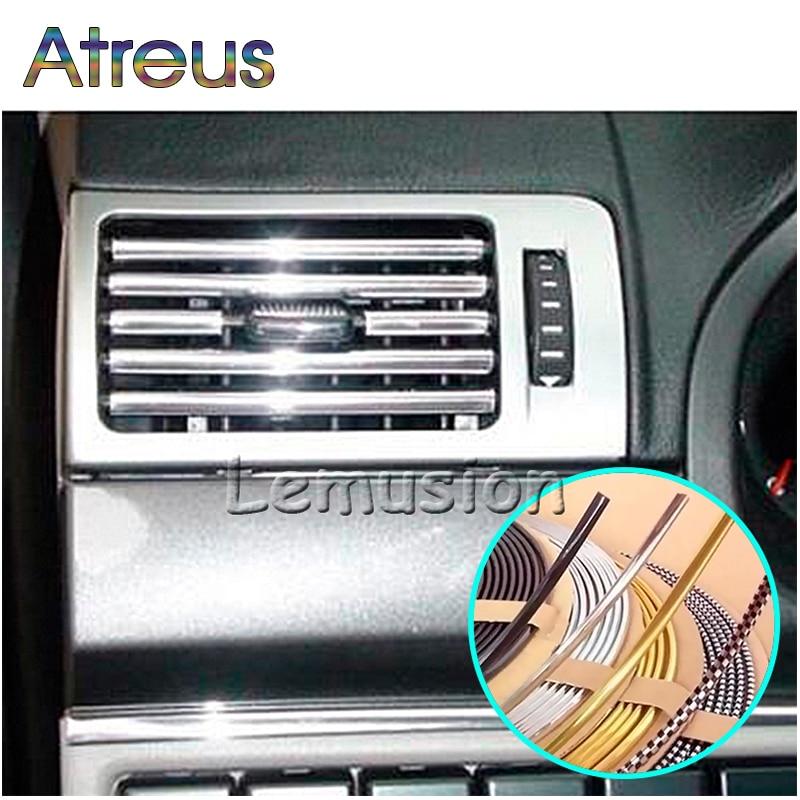 Atreus 3M DIY Car Interior Chrome Decoration Strips For VW T4 T5 Seat Leon Ibiza Nissan Qashqai J11 Juke X-trail T32 Accessories