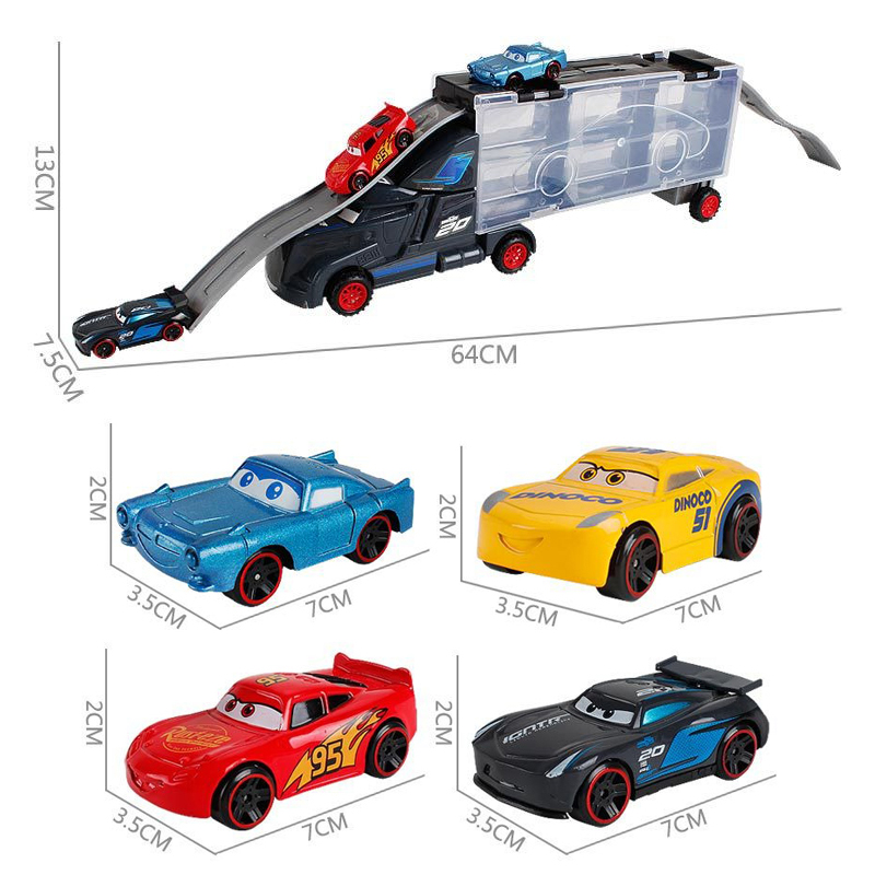 Cars Disney Diecast Metal Alloy Pixar Cars 3 Metal Truck <font><b>Hauler</b></font> with Small Cars Disney Cars3 Jackson Storm McQueen Toys For Kids image