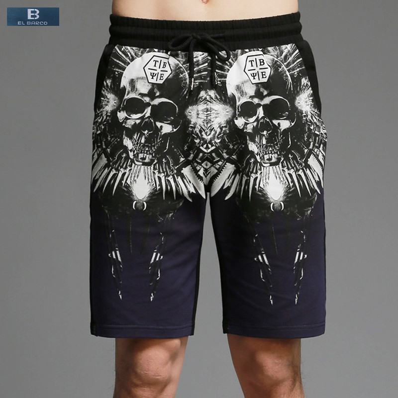 [EL BARCO] 2017 High Quality Cotton Skull Print Summer Men Casual Shorts Knee-Length Pocket Straight Soft Blue Red Male Trousers