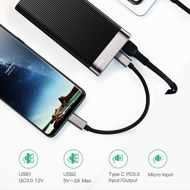 Baseus 20000 mAh charge rapide 3.0 batterie externe led Affichage Double USB type C PD Rapide De Charge batterie externe Pack banque d'alimentation de chargeur - 5