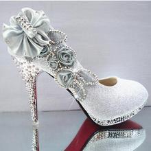 Г., блестящие великолепные свадебные вечерние женские туфли на высоком каблуке с кристаллами пикантные женские туфли-лодочки модная свадебная обувь 9 цветов