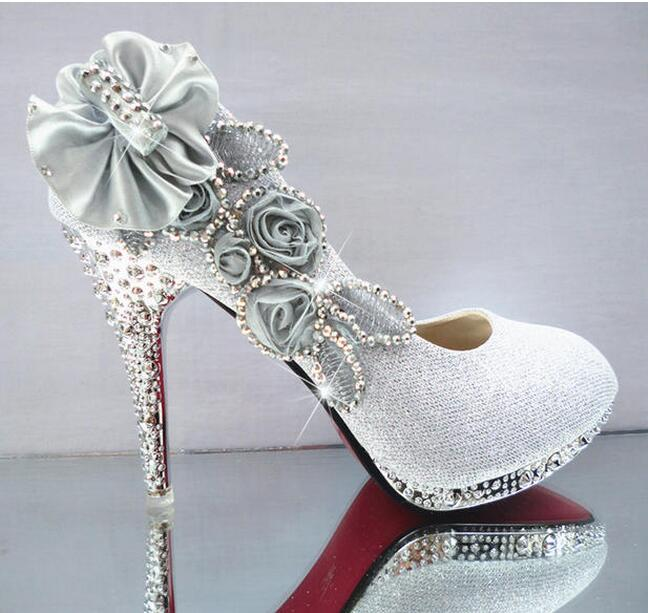 2016 Glitter Gorgeous Wedding Bridal Evening Party Crystal High Heels Women Shoes Sexy Woman Pumps Fashion Bridal Shoes 9 color women s fashion gold lace dinner evening party pumps shoes plus sizes low high heels custom made bridal wedding shoes