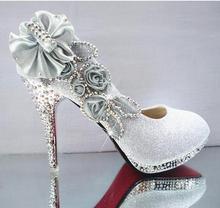 2016 Glitter Magnifique Mariage Nuptiale Parti Cristal Soirée Talons hauts Femmes Chaussures Sexy Femme Pompes Mode De Mariée Chaussures 9 couleur