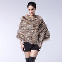 ZY82017 2017 New Arrival Fashion Real Knitted Rabbit Fur With Raccoon Fur Collar Trimming Ponchos Women Pashmina Shawl