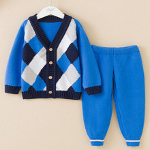 Ребенка плед вязать пальто кардиган и брюки костюм