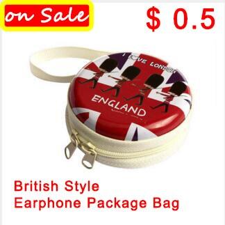 Лучший в продаже! Только $0.5 Британский Стиль Наушники Creative наушников Упаковка сумка для наушников