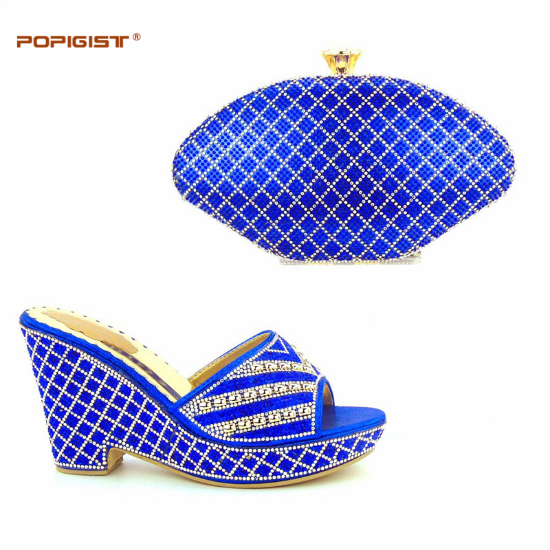 African shoes and bag set wedding golden wedges heels stripes and checks  style Italian shoes matching bag matching shoe and bag-in Women s Pumps  from Shoes ... 3c4eddc78330