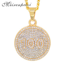 Hip hop nightclub exaggerated chains with number 100 pendant gold necklace for men women trendy personality