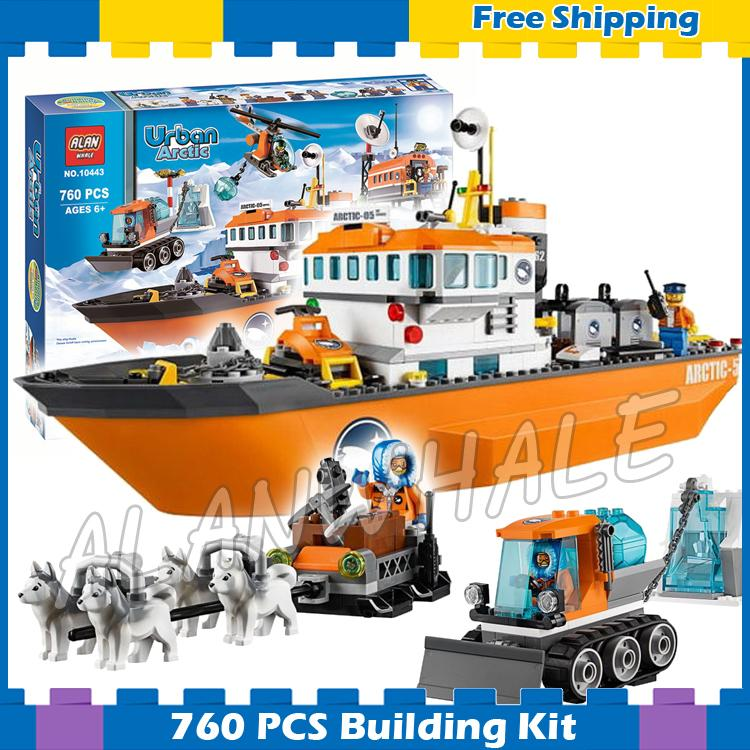 760pcs City Arctic Ice Breaker Scientific Research Ship Snow 10443 Model Building Blocks Figure Gifts sets Compatible with Lego penguin trap interactive ice breaker party game