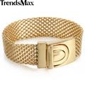 Trendsmax 18mm Wide 21.7cm Long Mesh Bismark Link Gold Plated 316L Stainless Steel Bracelet Mens Boys Chain HB330