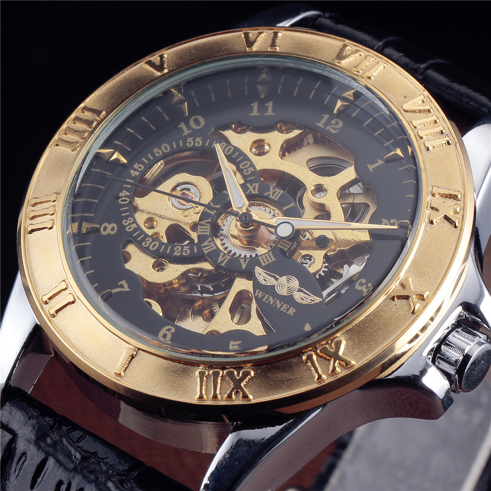 2016 New Winner Luxury Sport Clock Men Automatic Watch Skeleton Military Mechanical Watch Relogio Male Montre