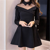 2018 New Spring Sexy Black Dress Long Sleeve Mesh Patchwork Hollow Out A Line Leisure Party Bodycon Dresses Vestidos