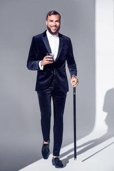 High Quality Blue Velvet Mens Suits Groom Tuxedos Groomsmen Wedding Party Dinner Best Man Suits (Jacket+Pants+Tie)