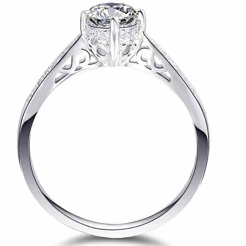 4 Pontas Linda 0.5Ct Rodada Cortar Diamantes Sintéticos Anel 925 Anel de Prata Esterlina Anel de Casamento Cor de Ouro Branco