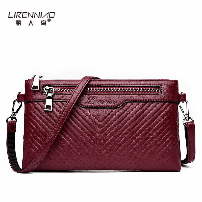 LIRENNIAO Handbag Women Clutch Bag Simple Shoulder Bags for Girls Solid Leather Purses and Handbags 2017 Clutch Bags Woman simple fashion women handbag solid color clutch bag leather envelope bags ladies over shoulder package 88 wml99
