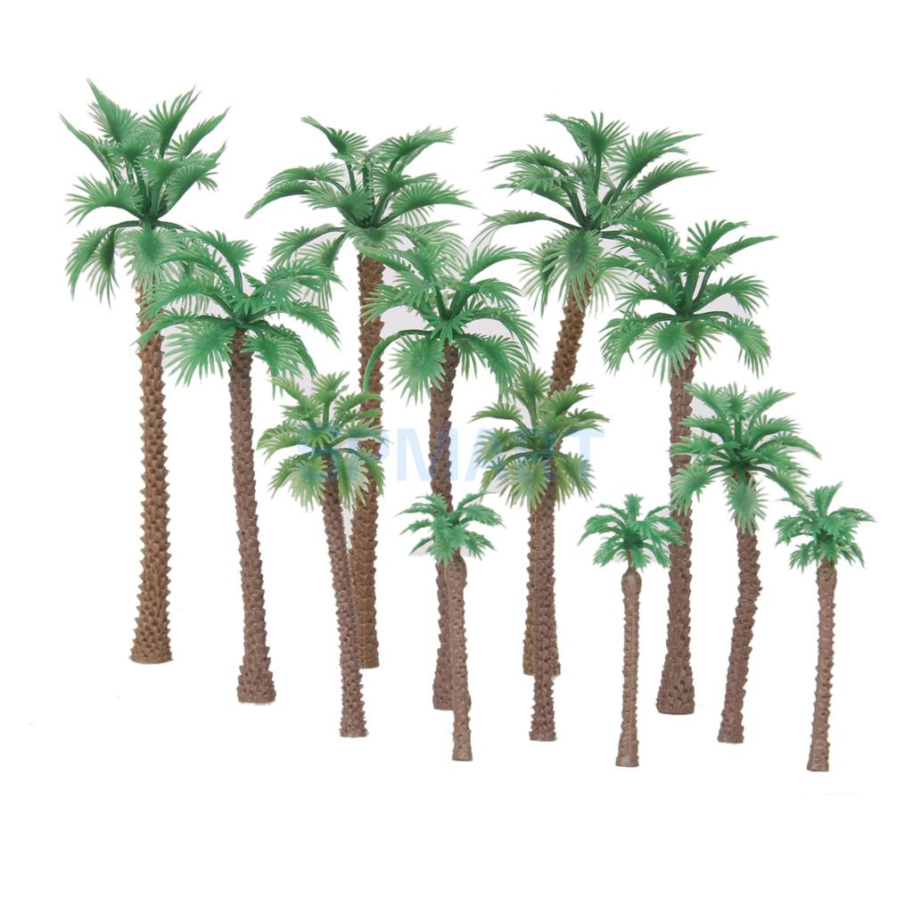 12pcs Layout Model Train Palm Trees Scale HO O N 6-11cm Model Scenery