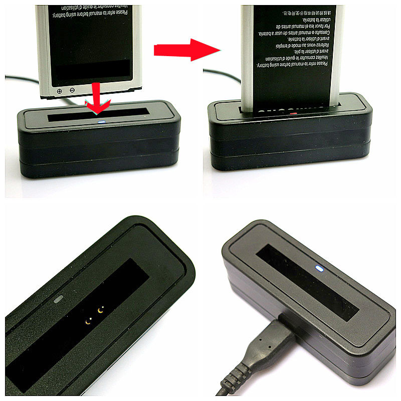 Mini Dock Battery Charger + USB Cable For Samsung Galaxy Note 4 Note 3 N9000 Note 2 S5 i9600 S4 i9500 S4 Mini i9190 S3 i9300