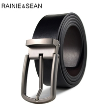 RAINIE SEAN Black Belt Men Leather Pin Buckle For Jeans Male Classic Casual Fashion Genuine Cow High Quality
