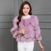 ZDFURS * натуральным натуральной лисы пальто с мехом Женская мода Меховая куртка дамы за пальто Верхняя одежда