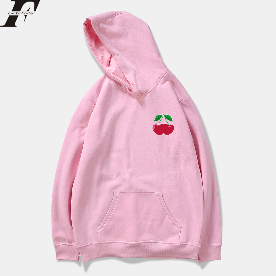 LUCKYFRIDAYF Cherries Spring Women Pink Sweatshirts Hoodies Men Print Casual Hip Hop Hoodie Kpop Fashion Outware Clothes Plus
