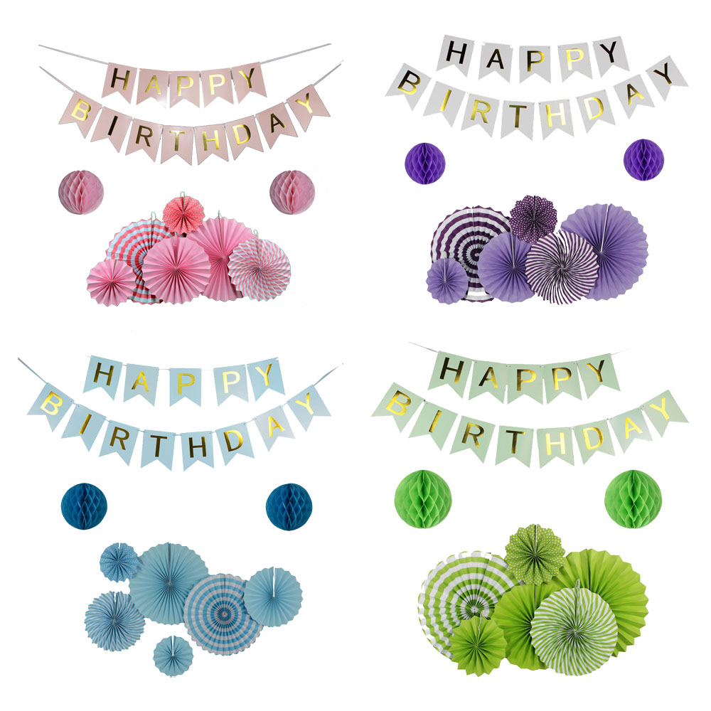 9pcs/Set Green/Pink/Blue/Purple Set Hanging Paper Fan For Party Decoration, Happy Birthday Banner For Boy Girl Baby Shower Decor