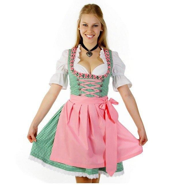 Più il formato 6XL Moda Costume Oktoberfest Tedesco Bavarese Beer Girl Cameriera Heidi Fancy Dress Up Dirndl Lederhosen Costume