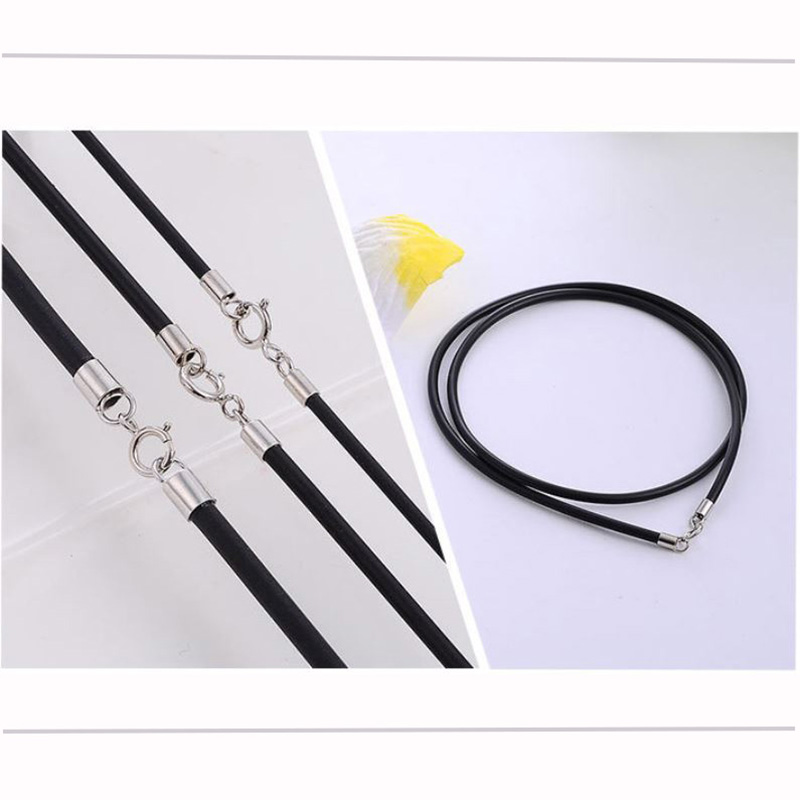 Black Rubber Leather Cord Rope Necklace Choker With 925 Sterling Silver Lobster Clasp Connector Buckle DIY Jewelry Accessories