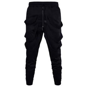 Image 5 - Calças harém masculinas, calças hip hop estilo baggy, cruzadas, tendência, preta, fita, streetwear, casual, para corrida