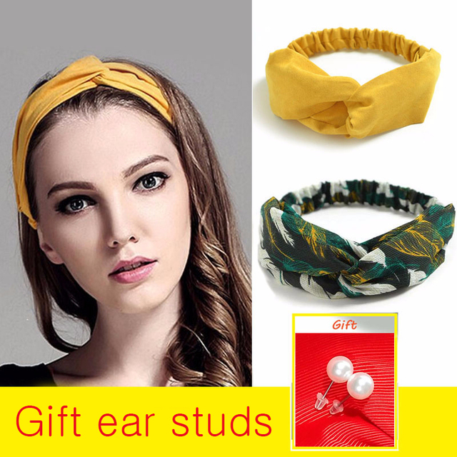 Gift Ear studs Woman Knotted Turban Hair Accessories for Girls Turban Elastic Hairband Head Wrap Striped  Hair Scrunchies W276