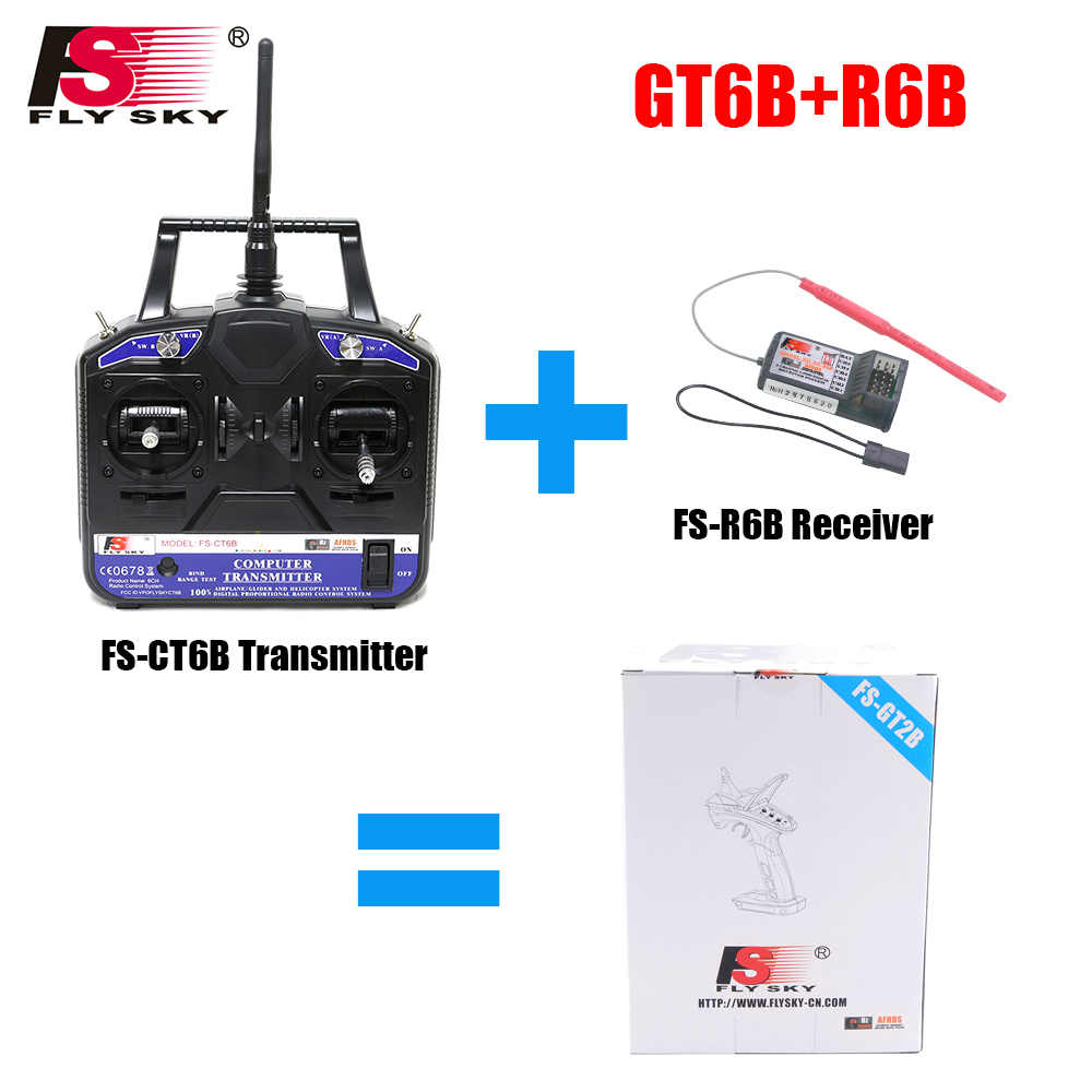 Fly Sky FS-T4B 2.4G 4CH Radio Control RC Transmitter + FS R6B Receiver For Heli Plane For RC Drone Quadecopter Airplanes flysky