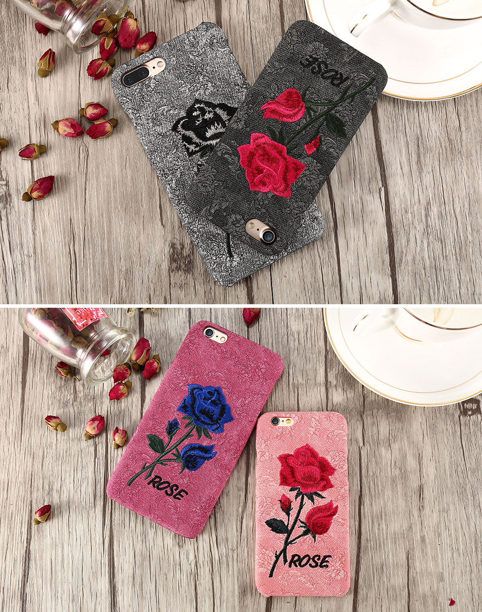 KISSCASE Beautiful Rose Flower Cover For Apple iPhone 6 6S Plus 7 7 Plus Case Fundas Coque Embroidery Pattern For iPhone 6 7 6S (11)