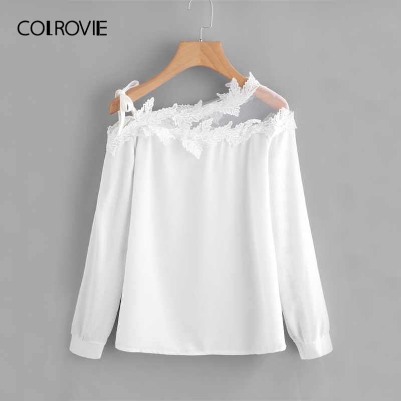 COLROVIE White Mesh Panel Crochet Appliques Asymmetric Cold Shoulder Elegant   Blouse     Shirt   Women Tops 2019 Long Sleeve Female Tee