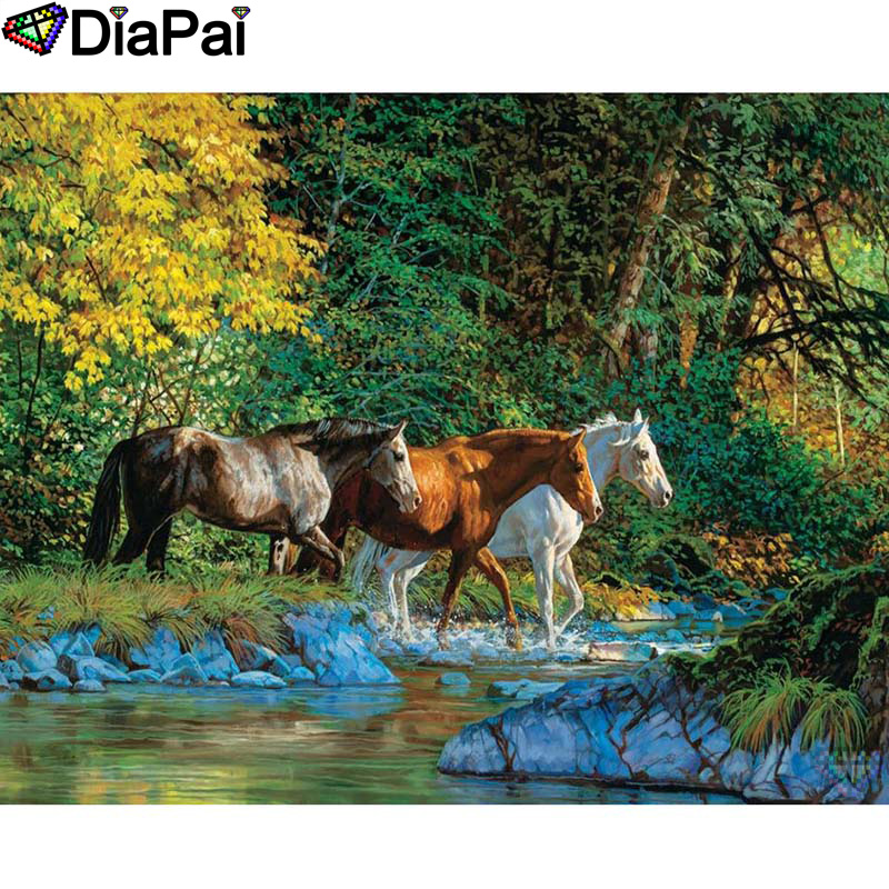 DIAPAI 100 Full Square Round Drill 5D DIY Diamond Painting quot Animal horse quot Diamond Embroidery Cross Stitch 3D Decor A21031 in Diamond Painting Cross Stitch from Home amp Garden