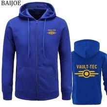 New hoodies men fashion vault tec 로고 게임 비디오 게임 fallout print 캐주얼 의류 후드 티 스웨터 남성 outerwear hoody
