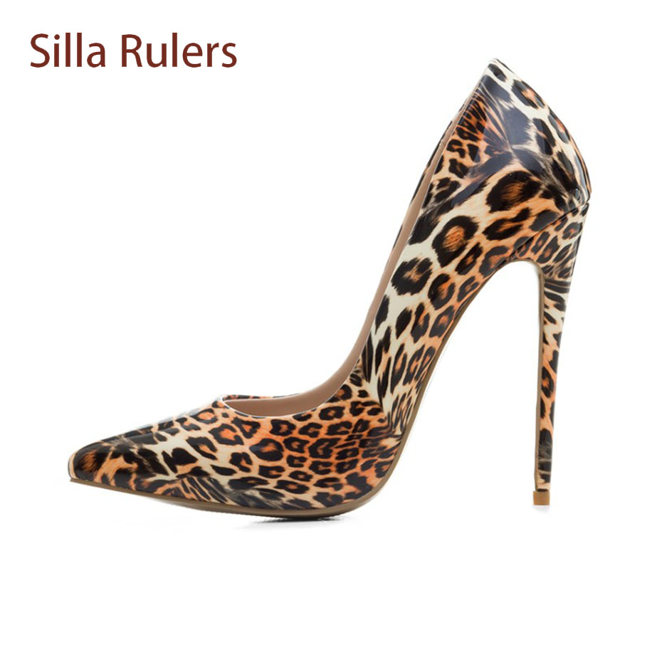 Silla Rulers Sexy Leopard Pattern Women Pumps Plus Size 34-43 High Heels Shoes Sexy Pointed Toe Stiletto Heel Party Women Shoes fashion tassels ornament leopard pattern flat shoes loafers shoes black leopard pair size 38