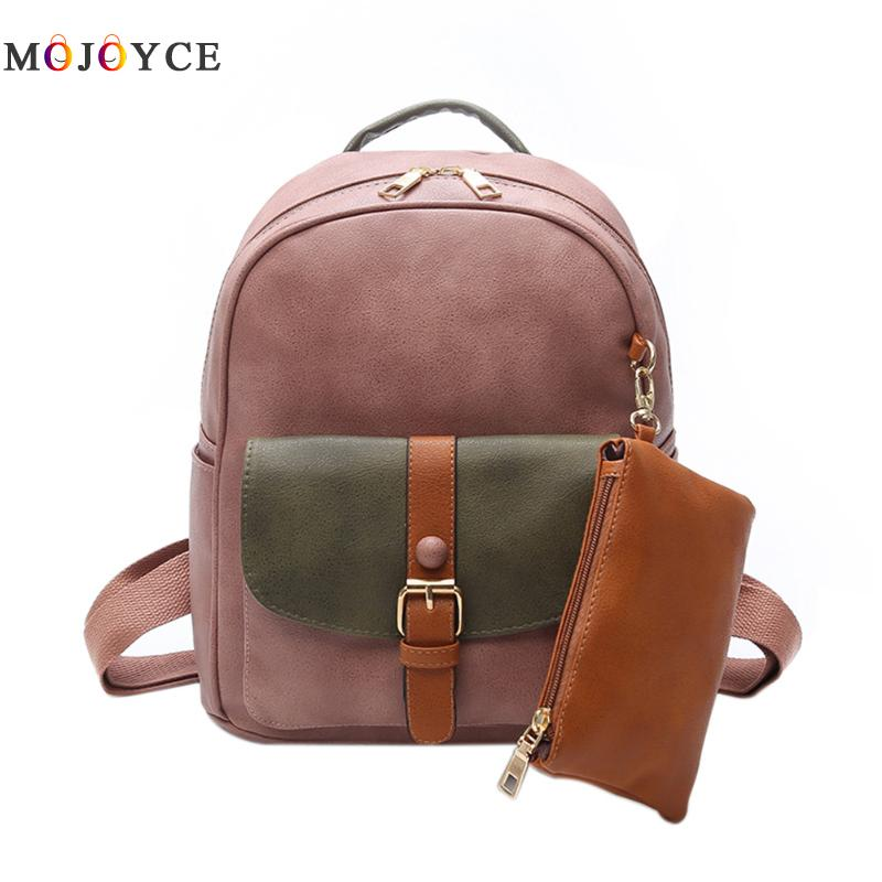 Female Composite Bag PU Leather Backpack Women Color Patchwork Teenage Girls Cute School Backpacks Mochila Feminina