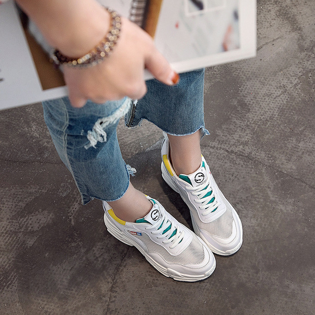 Jookrrix 2018 Summer Fashion Brand Lady Casual Platform Shoes Women Shoe Mesh Black All Match Girl Sneaker Lace Up Breathable 4