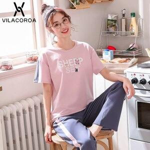 Image 3 - Yaz pamuk kore pijama kadınlar için baskılı yuvarlak boyun kısa kollu üst + uzun pantolon pijama setleri spor rahat pijama kadın