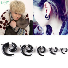 1pc 3/4/5/6/8mm Punk Rock Men Black Spiral Ear Tapers Snail Expanders Stud Earrings For Body Jewelry Ear Plug Piercing Brincos(China)