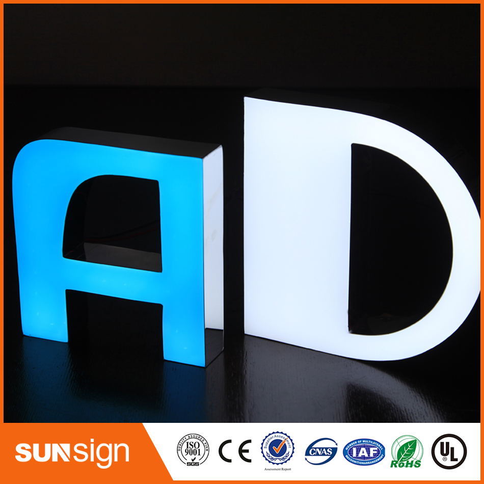 Customized Design Illuminated Led Open Signs Resin Alphabet Letter Sign