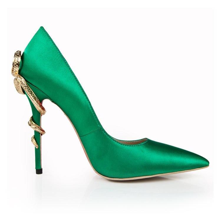 Sexy Chaussures Mode Verni En Forme Profonde Hauts Pointu Vert bouche Avec De Casual À Banquet Femmes Haute Talons Talons Cuir Peu Tw1AcxITq0