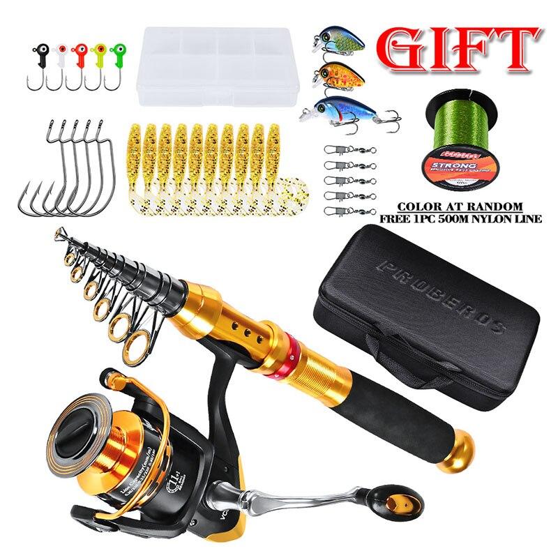 Pêche télescopique Rod1.8-2.7 m moulinet Combo Kit complet canne à pêche engins + moulinet filature + ligne leurres crochets avec sac pour vara de pesca